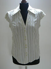 M&S PER UNA OFF WHITE GREEN STRIPE FITTED SHIRT BLOUSE TOP CRINKLE CAP SLEEVE 10