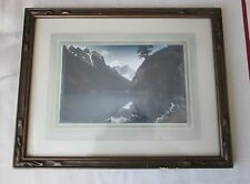 Vintage 40's Colorado? Rocky Mountain Lake trail leather backing orig. frame