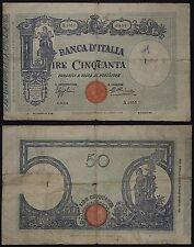 Banconota 50 LIRE Regno Banca d'Italia Barbetti Matrice 12-12-1934 MB- #B1055