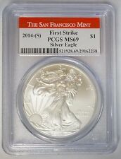 2014 S $1 American Silver Eagle 1 oz PCGS MS69 Struck at San Francisco Mint Red