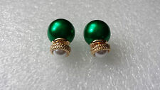GORGEOUS ANTHROPOLOGIE 16MM DOUBLE SIDED GREEN PEARL STUDS CAN BE WORN EACH SIDE