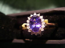 Stunning 9ct Yellow Gold 1 Carat AA Tanzanite and Diamond Cluster Ring size S