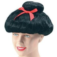 Japanese Chinese Giesha Oriental Lady Fancy Dress Wig With Bow Adult P6171