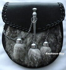 KILT SPORRAN LEATHER GREY RABBIT FUR TASSELS WITH DROP PIN WOVEN EDGE for KILTS