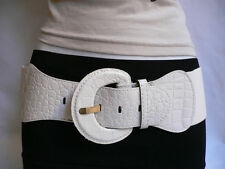 WOMEN HIP ELASTIC HIGH WAIST WHITE STRETCH BELT FAUX LEATHER PLUS SIZE M L XL