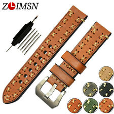 Watch Band Strap Light Brown Thick Genuine Leather Belt Silver Buckle Mens 26mm