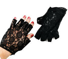 "Black Lace Fingerless Gloves 9"" Gothic Fancy Dress"