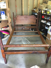 AWSOME Jenny Lind Style Antique Full Size Bed W/ Turned Spool Wood Frame & Rail