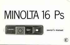 Minolta 16Ps Original Instruction Book