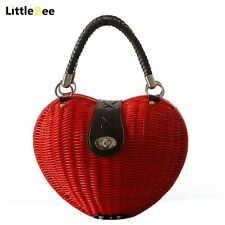 Handmade WOMENS Bag Purse Heart Red Rattan Straw High Quality Vintage Style