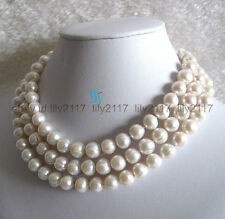 2016 Natural beauty10-11mm White Fresh Water Pearl Necklace  Jewelry 64""
