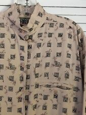 Vintage FORENZA ATHENTIC SPORTSWEAR Beige Shirt Blouse Letters Typography PoMo