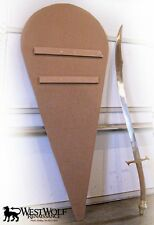 Blank, Sanded & Unpainted Wooden KITE SHIELD -- sca/larp/crusades/crusader/armor