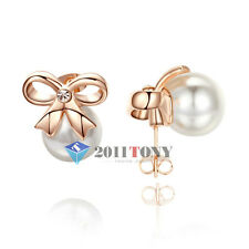 Fashion Pearl Jewelry 18K Rose Gold Plated Austria Crystal Bow Stud Earrings
