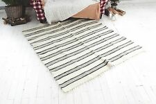 Hand Made Natural Pure Wool Rug White Striped Modern Carpet Rug For Living Room