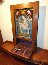 Antique 1900 Reverse Painted Catholic Virgin Mary Statue Shadow Box w/Crucifix