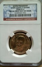 2008-D U.S. Mint President $1 John Q. Adams NGC, MS66, 1st Day of Issue