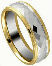 TUNGSTEN CARBIDE Diamond Faceted RING BAND with Gold Plated Edges, size 11