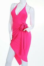 Pink Wrap Dress Spandex Party Club Sexy Halter Cocktail Large