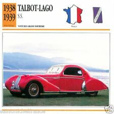 TALBOT-LAGO S.S. 1938 1939 CAR VOITURE FRANCE CARTE CARD FICHE