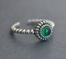 925 Sterling Silver Adjustable Ring Stone Green Round