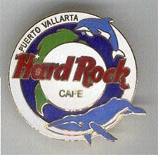 Hard Rock Cafe PUERTO VALLARTA 1990s Round PIN DOLPHIN & WHALE LE 500 Made MINT!