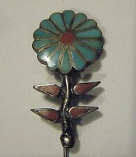 """VTG SOUTHWEST STERLING 1.5""""BLUE DAISY FLOWER CORAL AND TURQUOISE STICK LAPEL PIN"""