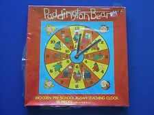 BBC TV  Paddington Bear Wooden Jigsaw Teaching Clock - NEW old Stock  1977