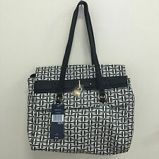 NEW ARRIVAL! TOMMY HILFIGER BLACK WHITE FLAP SATCHEL TOTE BAG PURSE $89 SALE