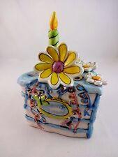 Happy birthday ceramic cake house daisy flower tealight holder Blue Sky