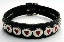Black Genuine Leather Choker with Hearts and Adjustable Buckle Made in the USA