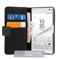 Yousave Accessories Sony Xperia Z5 Compact Black PU Leather Wallet Case Cover UK