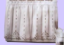 Battenburg Lace Cotton Kitchen Curtain - White - Café Tiers, Valances - NEW !