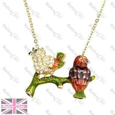 CRYSTAL rhinestone SPARROW BIRD NECKLACE gold plt chain ENAMEL kitsch song birds