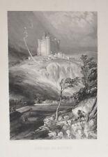 Lithographie Originale XIXème - Château de Bouzols - Rouargue Frères
