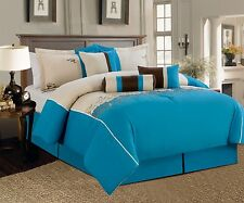 7 Piece luxury King Bed In a Bag Comforter Set turquoise beige blue 1302