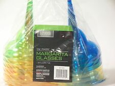 Living Solutions Bright 12pk Plastic Margarita Glasses Green Yellow Orange Blue