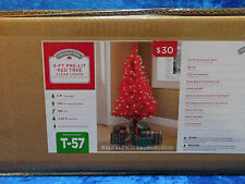 "Bright Red Holiday Time 4"" Pre-Lit Tree Clear Lights Christmas Valentines"