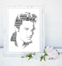 ELVIS WORD ART PERSONALISED A4 GIFT BIRTHDAY LEGEND PRESLEY BIRTHDAY KING ROCK