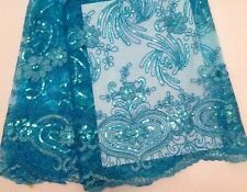 Turquoise French Emb Sequin Scall Edge Bridal TuTu Dress Fabric #10BE3B 50 cm