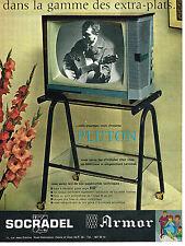 PUBLICITE ADVERTISING 054  1960  SOCRADEL ARMOR   téléviseur PLUTON extra-plat