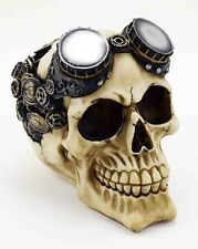 Skull Head Ivory With Swimming Goggles 10.5X15X12.5cm  Gothic Gift Steam Punk