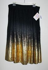 Lularoe UNICORN Elegant Elegance Lola Black/Gold Lace Ombre Skirt XL New w tags