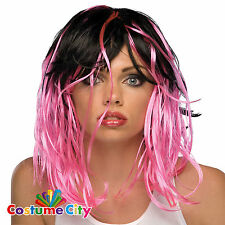 Womens Ladies Neon Pink & Black Wig 1980s 80s Fancy Dress Halloween Accessory