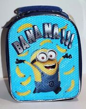 DESPICABLE ME MINION BANANA SCHOOL LUNCH BAG BOX PACK KIT BLUE & BLACK 10""