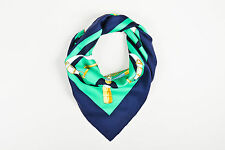 "Hermes Green Navy White Yellow Silk Equestrian Print ""Eperon D'Or"" Scarf"