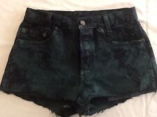 26 W Levis Short Shorts Distressed Black Green Dye Wash Juniors Frayed ButtonFly