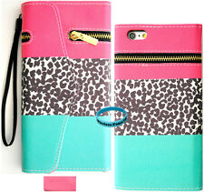 Teal Pink Leopard Zipper Wallet Purse PU Card Slot Leather Case Iphone 6 4.7""