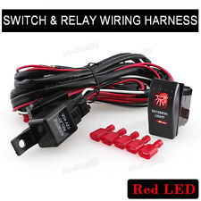 RED INTERIOR LIGHT Switch Backlit Car Bar Offroad ATV Relay Wiring Harness Kit