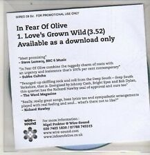 (DB357) In Fear Of Olive, Love's Grown Wild - 2012 DJ CD